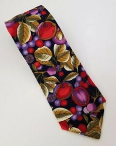 "Tango Mens Necktie Max Raab Fruit Vegetable Garden 56""x3.75"" 100% Cotton USA"