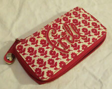 "Vera Bradley Frill Pink Flower Vinyl Cosmetic Brush Holder 6.5"" x 3.5"" Zips"