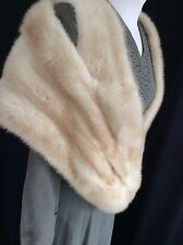 1950s 60s Genuine Vintage  Blonde Cream  Real Mink Fur Stole, Wrap BOMBSHELL