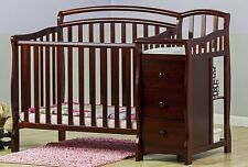 Convertible Baby Bed 3 In 1 Mini Crib Cherry Dressing Table Changer Nursery New