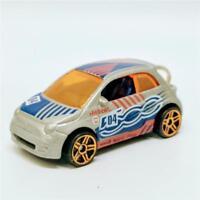 Fiat 500 Hot Wheels HW Daredevils 2/5 1:64 Silver w Blue Orange Die Cast Keyring