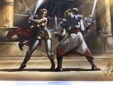 KIT RAE FANTASY ART SIGNED VAELEN AND NAEGOLUS SWORD FIGHT PRINT