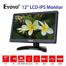 EYOYO 12 Zoll HD LCD IPS Farbmonitor Anzeige PC DVD CCTV Kamera Video VGA HDMI