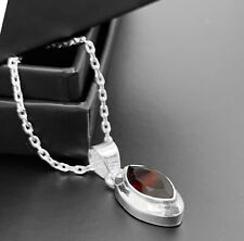 Beautiful Red Garnet Sterling Silver 925 Pendant Designer Necklace Jewellery