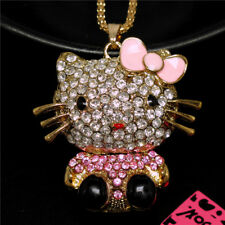 Betsey Johnson Lovely Pink Crystal Kitten Cat Bow Pendant Sweater Chain Necklace
