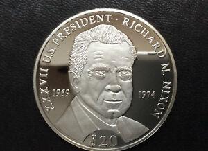 2000 Republic of Liberia Richard M. Nixon $20 Silver Coin A2439