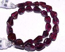 "K-0220 Garnet 100% Natural Gemstone Beautiful Wine Red Pear Plain Bead 6"" Strand"