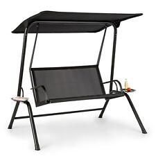Balancelle Transat à bascule bain de soleil chaise auvent -  Noir