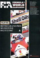 British Grand Prix 1987 Silverstone official programme + lap chart