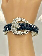 Crystal Bedazzled Belt Bangle Bracelet - Silver Tone