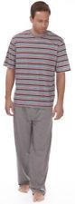 Pijamas y batas de hombre de manga corta grises de 100% algodón
