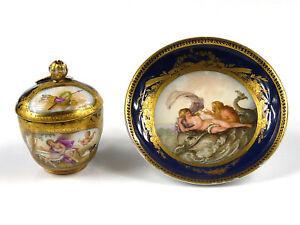 feine Deckeltasse + UT - MEISSEN - mythologische Szenen - kobaltblau - um 1800