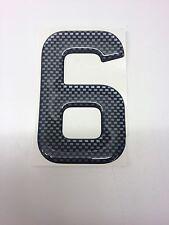 3D Gel Domed Digit Domed DIY Registration Reg Number Plate CARBON Letter 6