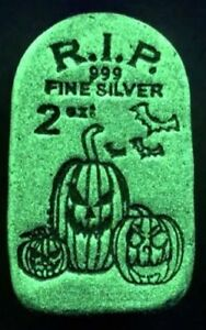 Limited Edition Tombstone Glow In The Dark Jack-O-Lantern- 2 oz .999 Silver Bar