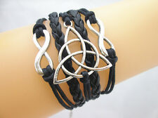 Pretty Double Infinity/Triquetra Charms Leather Braided Bracelet - Black
