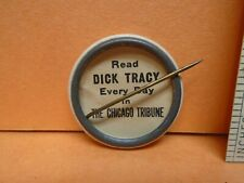 Vintage 1930's Dick Tracy Chicago Tribune Celluloid Pinback Orig Backpaper 1.25""