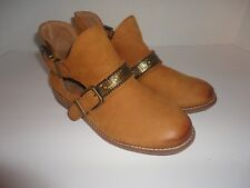 GIANNI BINI Brown Leather Buckle Ankle Booties gold Studs Boots Size 6M