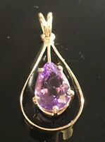 Incredible Amethyst Pendant 14k Plumb Yellow Gold Pear Shape Rose Of France P801