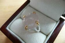OVAL CABOCHON PINK ROSE QUARTZ 925 STERLING SILVER YELLOW GOLD RING SZ R US 9