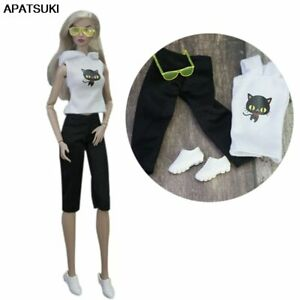 """Black Cat Outfits For 11.5"""" Doll Clothes Set Hoodie Crop Pants Shoes Glasses Toy"""