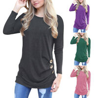 Plus Size S-2XL Women Casual Long Sleeve T-Shirt Loose Crew Neck Tee Tops Blouse