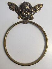 "Vintage Heavy Brass Cherub Angel 5"" Towel Ring Holder Bar Rack Antique Japan"