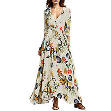Women Maxi Boho Floral Summer Beach Dress Long Skirt Evening Cocktail Party XL
