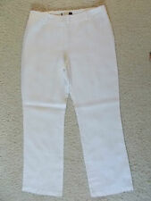 M&S White Pure Linen Wide Leg Trousers Size 14 New