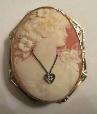 "Vintage 14K Gold Cameo Pendant / Brooch  Old Mine Cut Dia=.10  F-VS2    2""X1.50"""