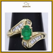 EMERALD RING CLASSIC VINTAGE 14K YELLOW GOLD DIAMONDS EMERALD RING SIZE 7 (md9