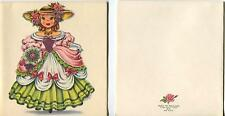 VINTAGE VICTORIAN GIRL DOLL OF ENGLAND ROSES PRINT & 1  GIRLS DRESS UP BED CARD