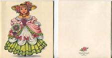 VINTAGE VICTORIAN GIRL DOLL OF ENGLAND ROSES PRINT & 1 FLORIST GARDEN SHOP CARD