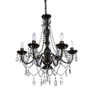 Gothic Black and Crystal Bead 6 Light Hanging Chandelier   Think Brink