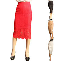 Fashion Women Lace Pencil Skirt High Waist Hollow Out Crochet Wrap Midi Skirt