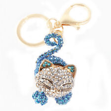 Long Tail Sit Cat Cute Crystal Charm Pendant Purse Bag Key Chain Creative Gift