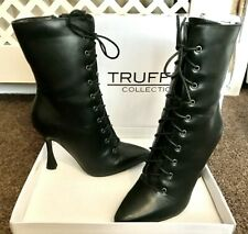 Truffle black Pu laced front - gothic steam punk -Victorian Style Heeled boots 5