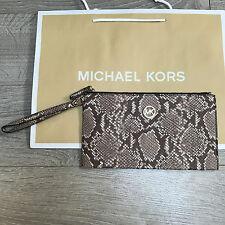 BNWT MICHAEL KORS FULTON Clutch MK Bag Purse RRP £120 Snake Leather 100% Genuine