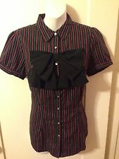 New Retro Goth Lolita Pinup Forever 21 Pink Striped Bow & Rhinestone Blouse Sm