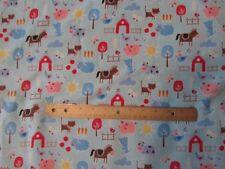 2 Yards Blue Farm Animal/Cow/Pig/Sheep/Horse/Barn Flannel Fabric
