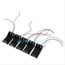5Pcs DC 9V Volt Battery Clip Holder Box Case Cover with Wire Lead Wire Cable