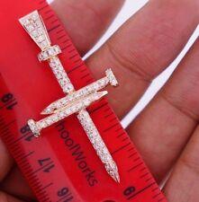1.10 Carat Diamonds 8 Grams 10k Pink Gold Nail Cross Charm Pendant Best Price !!