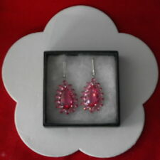 BEAUTIFUL SILVER EARRINGS WITH RED BLOOD RUBY 7.4 GR. 4 CM. LONG IN GIFT BOX