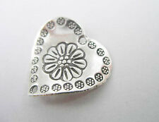 Karen Hill Tribe Silver Engraved Curve Heart Connector 20mm.