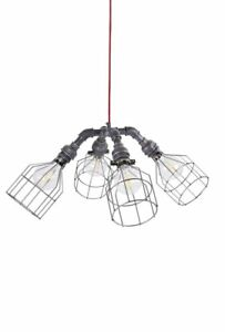 DIY - URBAN PIPE QUAD - Vintage, Steampunk, Industrial Ceiling Light