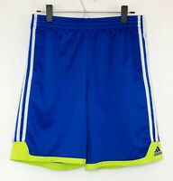 Adidas Men's Blue Athletic Shorts w Green Trim! 3 Stripes. Logo. Drawstring Sz M