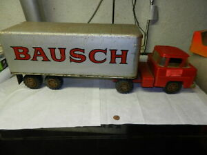 Large stamped steel Marx tractor trailer, custom lettered for BAUSCH, neat!