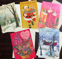 Vtg Mixed Lot 5 70's Greeting Cards Mica Sparkle Xmas Birthday Vday Notcross NOS