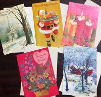 Vtg Mixed Lot 5 70's Greeting Cards Mica Sparkle Xmas Birthday Vday Notcross NOS