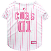 Chicago Cubs MLB Pets First Officially Licensed Pinstripe Dog Jersey, Pink