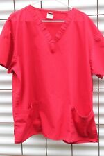 Dickie Medical Scrubs Top, RED V Neck Pullover, Size XL  FREE SHIP!